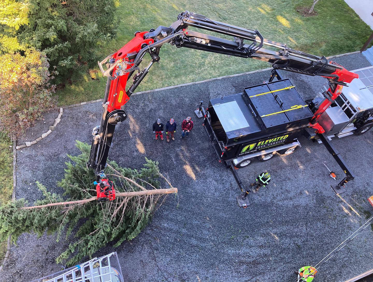 Elevated Tree Service - Overhead Shot of Crew and Truck
